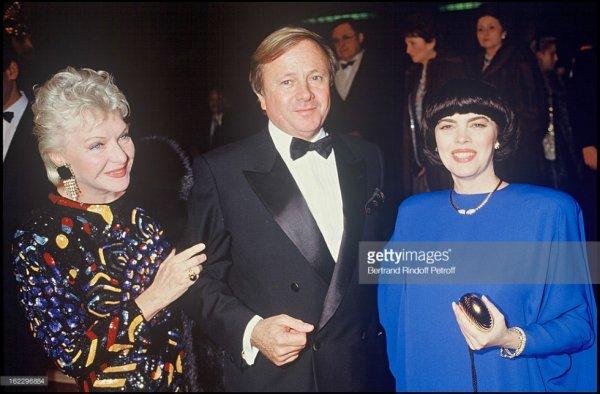 """Line Renaud et Mireille Mathieu Soiree Barychnikov au """"Moulin Rouge"""" en 1986"""