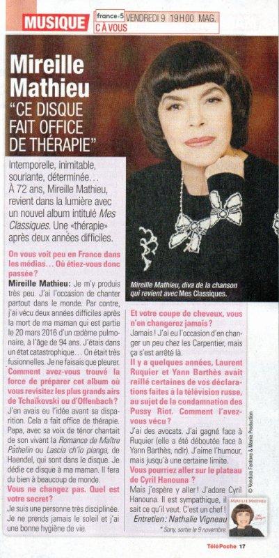 """Une interview de Mireille dans le nouveau """"Télé-Poche"""" à l'occasion de la sortie de son nouvel album """"Mes classiques"""" novembre 2018"""
