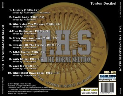 The Horn Section / T.H.S.   l'album jamais sorti en 84 est sorti en septembre 2010