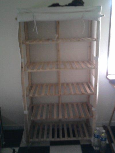 etagere bois tissu