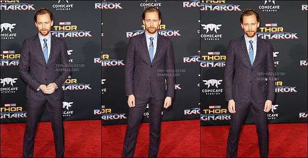 10.10.2017 : Tom Hiddleston et le cast du film étaient à la première de Thor Ragnarok qui se situait à Hollywood