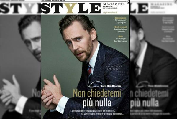 •Notre cher Tom fait la couverture du magazine  Style Italie pour Novembre 2017,
