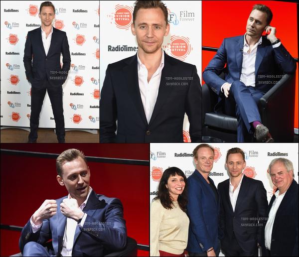 """09.04.2017 : Tom Hiddleston était aux """"BFI & Radio Times TV Festival"""" qui s'est déroulé à Londres en Angleterre"""