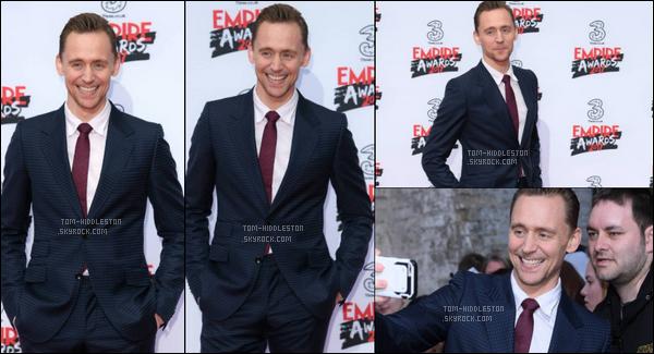 19.03.2017 : Tom Hiddleston s'est rendu aux Empire Awards qui se sont déroulés à Londres en Angleterre