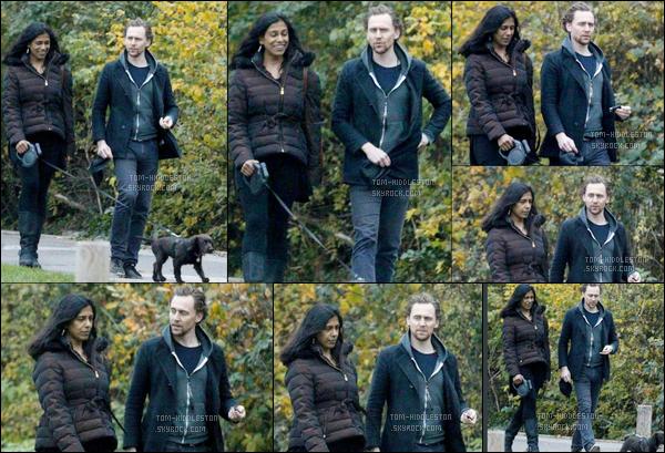 22.11.2017 : Tom se promenait avec son chien et une amie (Lolita Chakrabarti) dans un parc au Nord de Londres