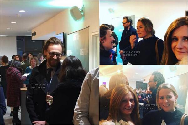 15.02.2018 : Tom Hiddleston  vraiment magnifique était à la première de The Shadow Factory à Southampton