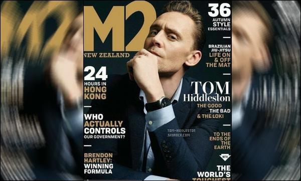 . le beau et élégant Tom Hiddleston fait la couverture du magazine  « M2»      .