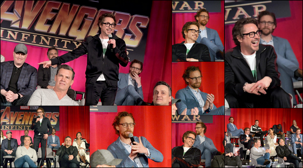 22 Avril 2018 : Tom Hiddleston avec le cast de Avengers Infinity war était à une conférence à Los Angeles
