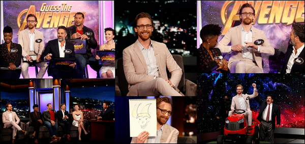 "27 Avril 2018 : Tom Hiddleston était sur le plateau de Jimmy Kimmel pour la promo de ""Avengers Infinity War"""