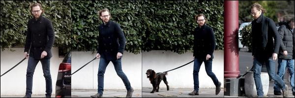13.11.2018 : Tom Hiddleston , visiblement pas très content a été vu promenant son chien Bobby à Londres
