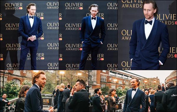 07/04/2019 :  Tom Hiddleston était présent aux « Olivier Awards » au Royal Albert Hall situé à Londres