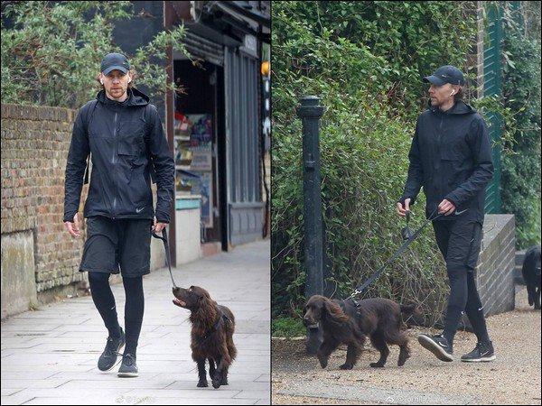 08/04/2019 :  Tom Hiddleston a été comme à son habitude aperçu promenant son chien Bobby à Londres