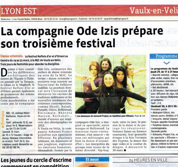 ARTICLE LE JOURNAL LE PROGRES - MARS 2012
