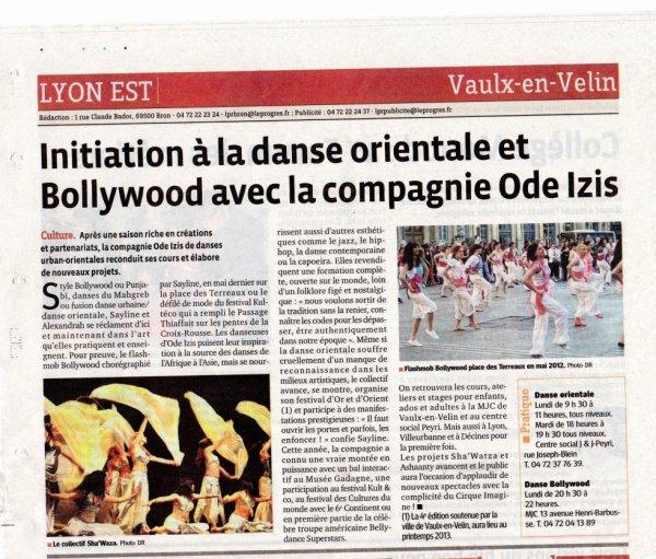 ARTICLE PRESSE LE PROGRES - 22 octobre 2012
