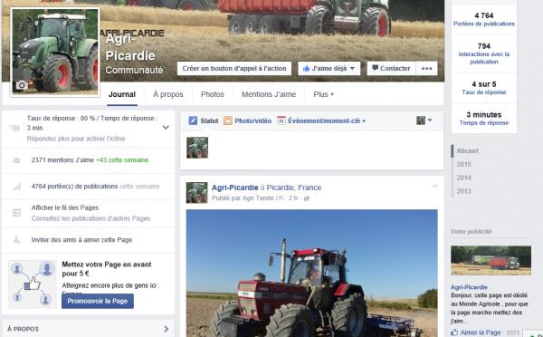 News - A lacher le blog pour tous mettre sur facebook gère plusieurs pages . Agri-Picardie est la principal