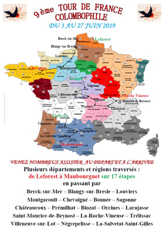9 ème tour de france colombophile française