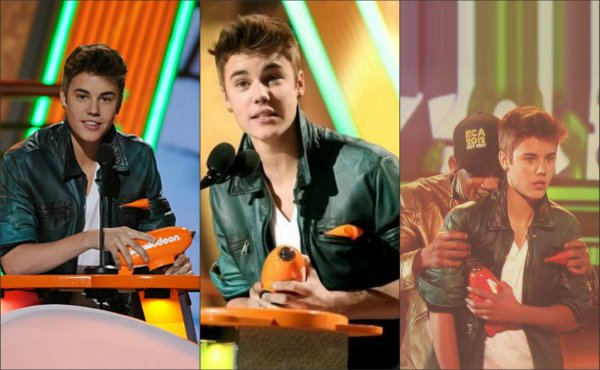 Justin à la cérémonie des Kids Choice Awards,hier. ♥