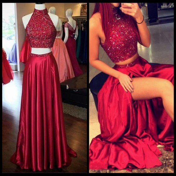 Red like fire robe rouge perles