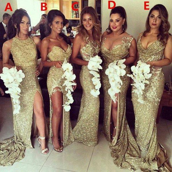 Robe de demoiselles d'honneur pailleté doré