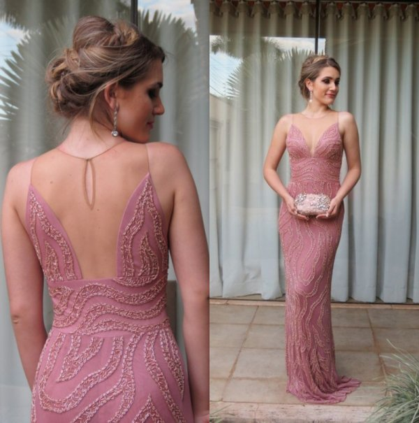 robe de soirée rose perles