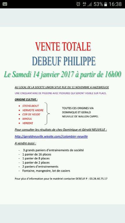 Vente totale de Debeuf Philippe