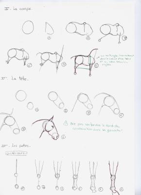 Tuto pour faire un chwal tous mes dessins - Apprendre dessiner cheval ...