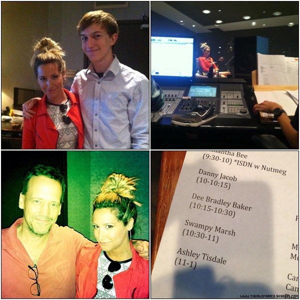 """16.07.2013 - Ashley prêtant sa voix au personnage de Candice Flynn pour """" Phineas and Ferb """".Les producteurs ont partagé plusieurs photos de cet enregistrement."""