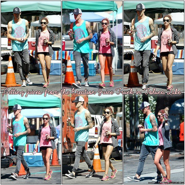 25.08.2013 - Ashley accompagnée de Christopher au Kreation Juice Truck à Toluca Lake.