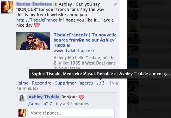 Ashley m'a répondu sur Facebook !