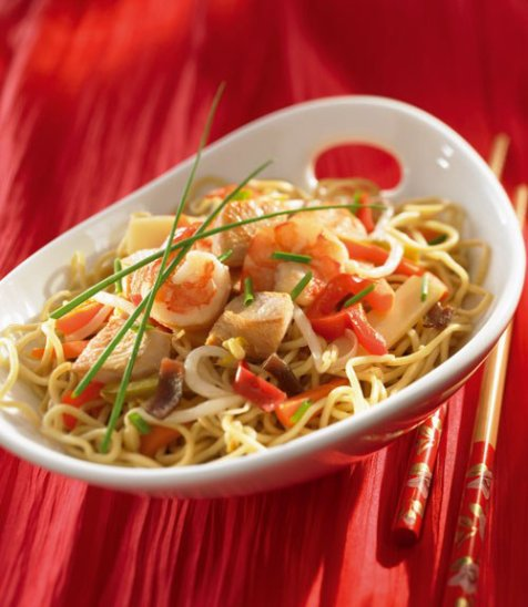 Nouilles sautées au poulet et au gingembreRecette chinoise1° Recette