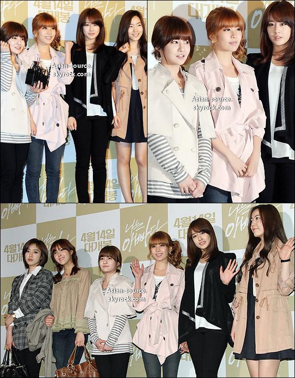 """Les T-ara lors de l'avant première """"I am a Daddy""""  Les filles sont vraiment magnifiques , gros coup de coeur pour Qri et Ji Yeon ."""