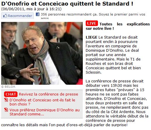 Dominique D'Onofrio et le Standard, c'est fini !