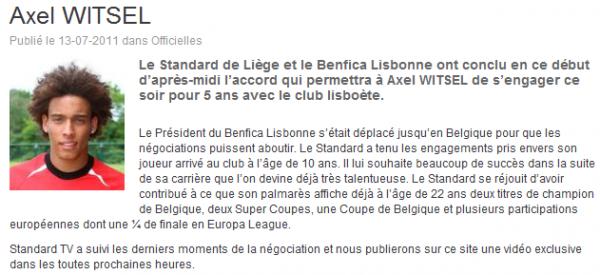 Officiel : Witsel signe à Benfica.