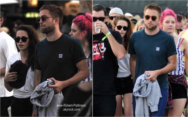 . .12 Avril 2013 . Rob et Kristen étaient au festival de Coachella à Los Angeles,on y voit également Katy Perry.Rob a également pris quelques photos avec des fans! .  Tenue :  Pour Rob rien à dire sauf les lunettes et Kristen, j'aime bien aussi. Toujours son habituel noeud à son TShirt ☺ .