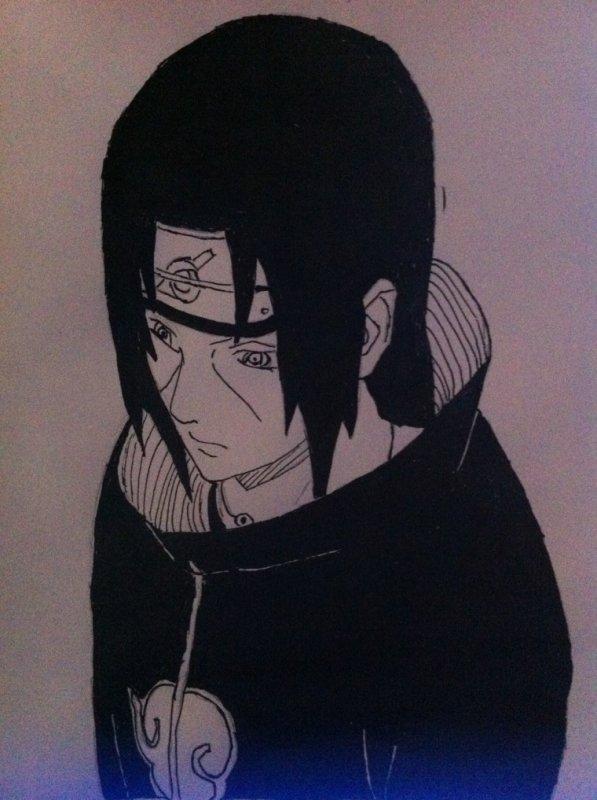 Dessins Hinata ,Konan, Itachi, Jiraya, Naruto et Kushina, Raikage, Pain a l'encre de Chine.