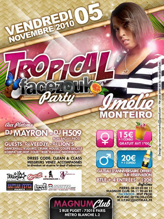 VENDREDI 5 NOVEMBRE @u MAGNUM - TROPICAL FACEZOUK PARTY -