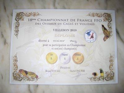 Résultats championnat de France FFO