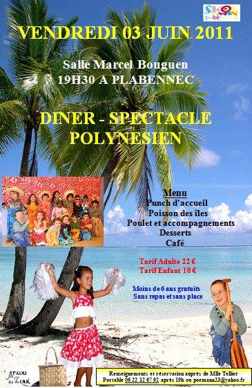 Soirée tahitienne avec HEIPUNA en collaboration avec l'école Diwan de Plabennec.