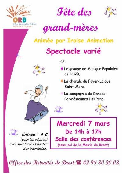 """Mercredi 7 Mars: prestation pour la  """"Fête des grands- mères"""""""