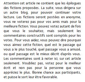 CONCOURS FICTIONS - VOTE POUR LA MEILLEURE