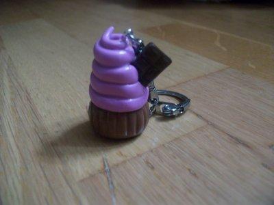 Porte-clés : Le cup-cake avec du chocolat.