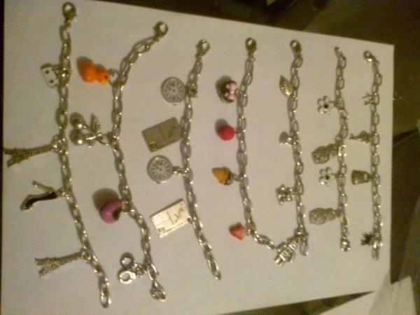 bracelets breloques argentés