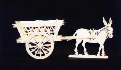 Découpage sur bois - 17 (Une charette avec un âne)