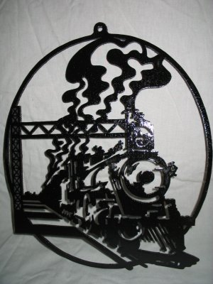 Découpage sur bois - 125 (Locomotive vue en perspective) I