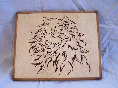 Découpage sur bois - 140 (Tête de chat)