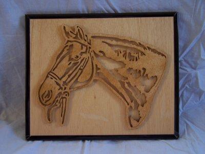 Découpage sur bois - 141 (Tête de cheval)