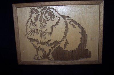 Découpage sur bois - 166 (Cadre Chat)