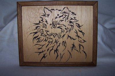 Découpage sur bois - 171 (Tête de chat)