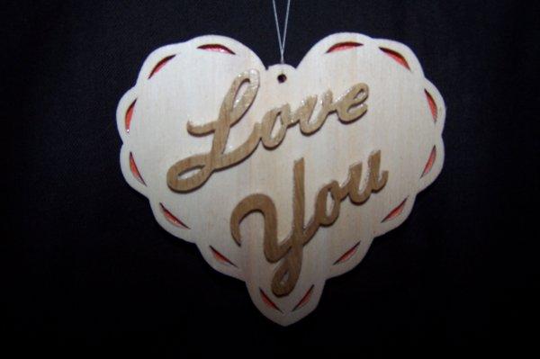 Découpage sur bois - 182 ( Coeur Love You)