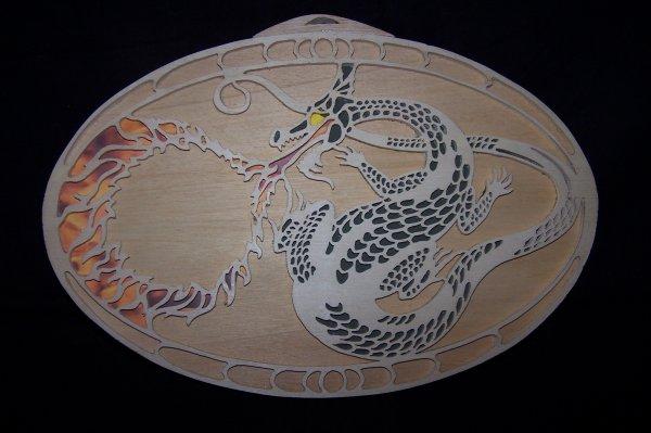 Découpage sur bois - 199 (Cadre Dragon)
